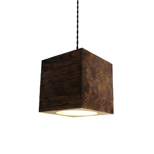 cube square wooden lamp