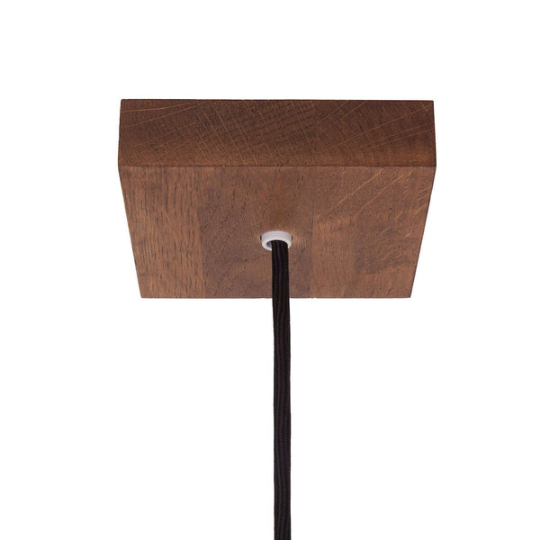square wooden ceiling rose light fitting dark oak