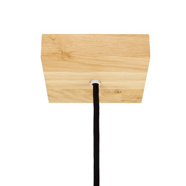 Square wooden ceiling rose fitting light oak