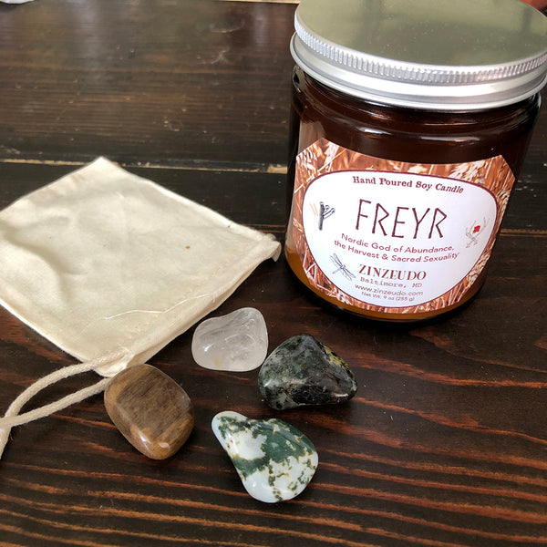 Abundance Magic Freyr Candle & Tumbled Stone Set