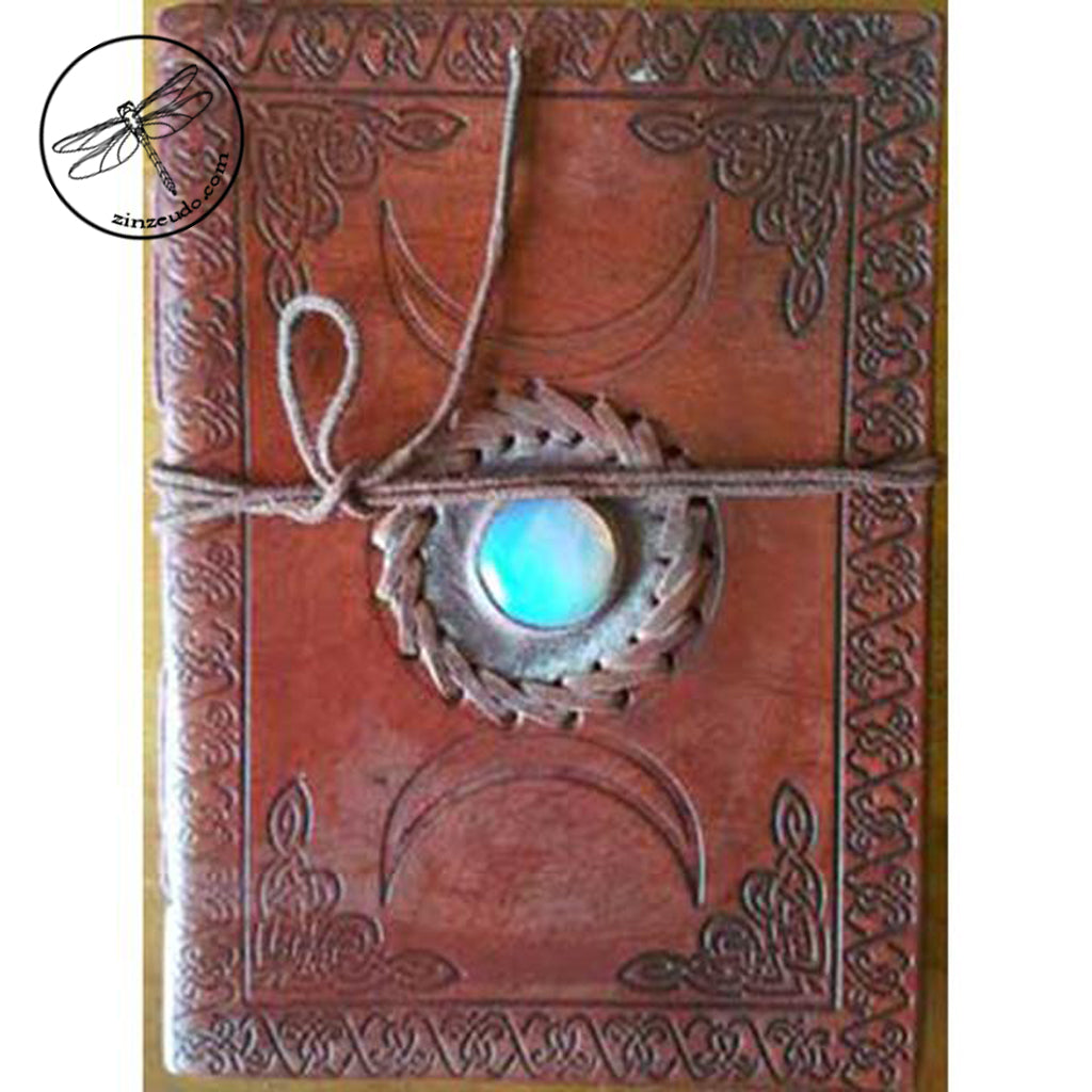 Triple Goddess Leather Journal with Stone
