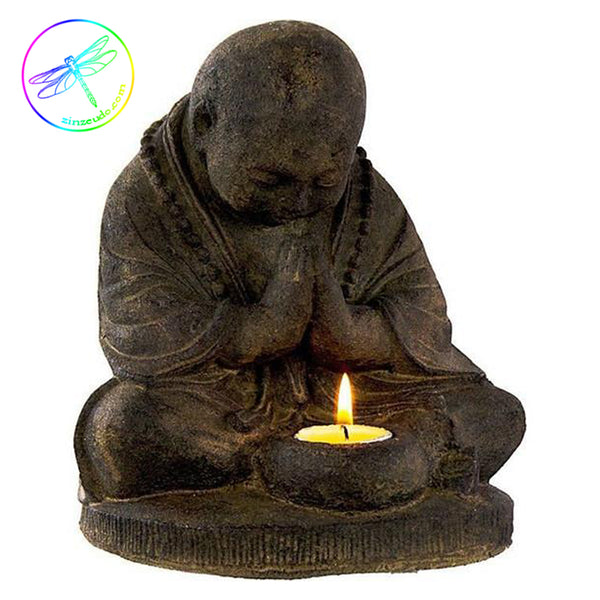 Praying Monk T-Light Statue