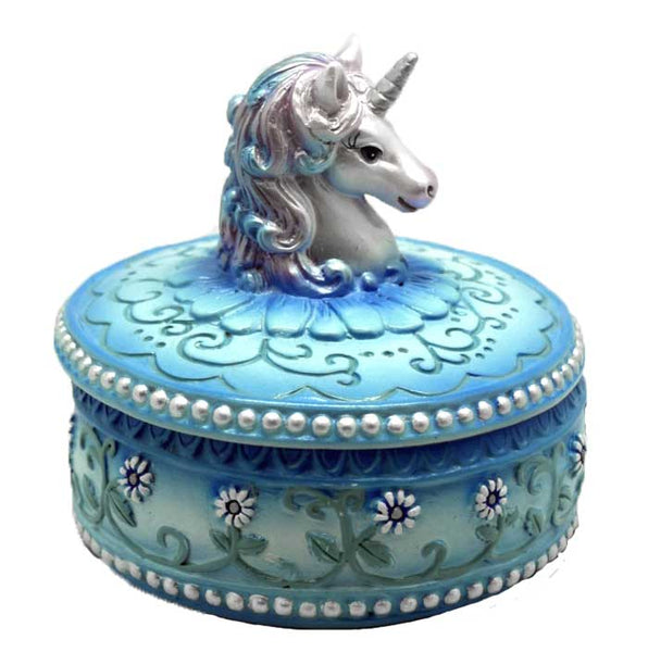 Blue Unicorn Trinket Box 3 1/2""