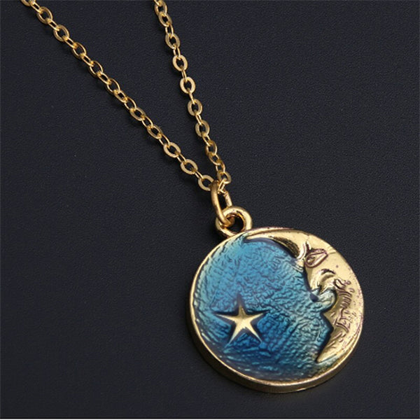 Blue Star and Moon Necklace