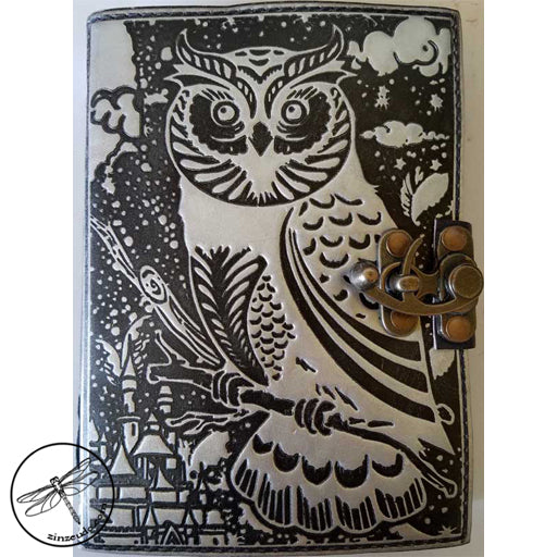 Black & Silver Owl Leather Journal