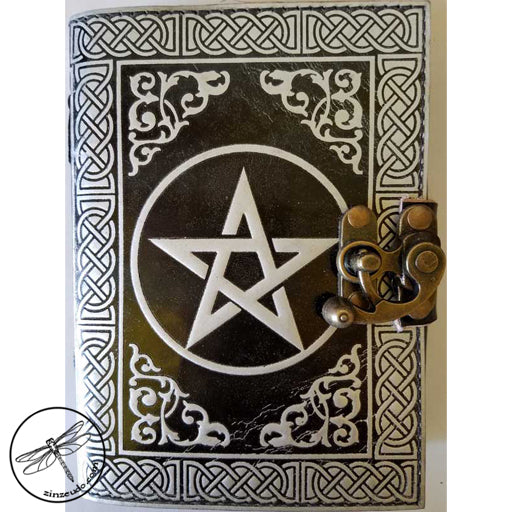Black & Silver Pentagram Leather Journal