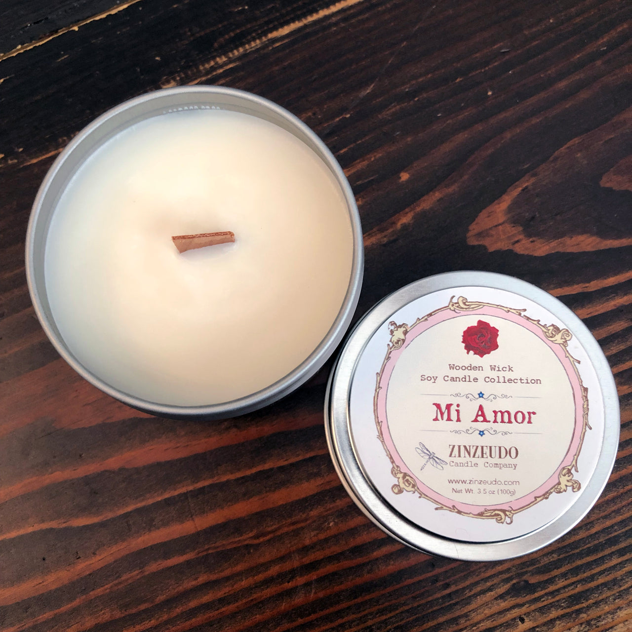 Mi Amor Wooden Wick Soy Candle