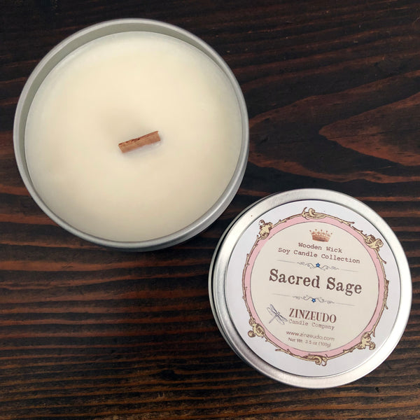 Sacred Sage Wooden Wick Soy Candle