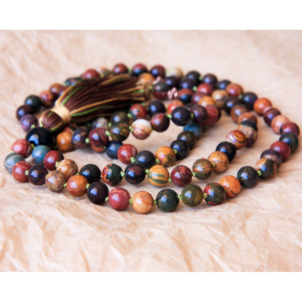 Red Creek & Picasso Jasper Mala