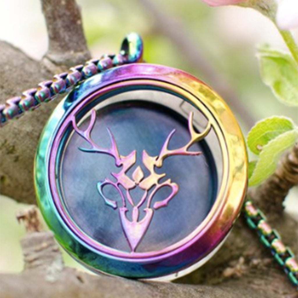 Rainbow Hippogryph Stag Diffuser Necklace