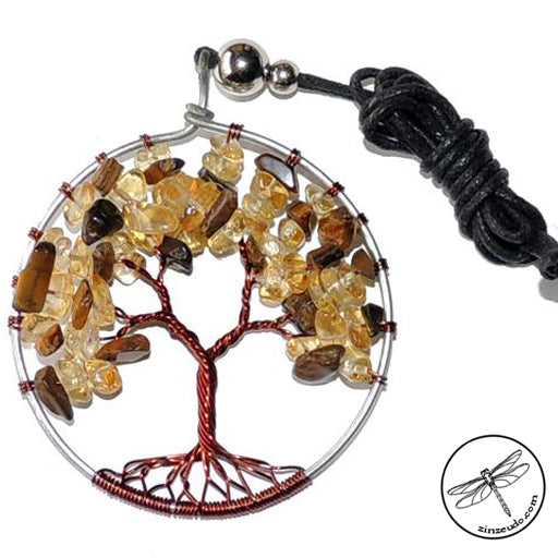 Tree of Life Gemstone Necklace, Tiger's Eye & Citrine