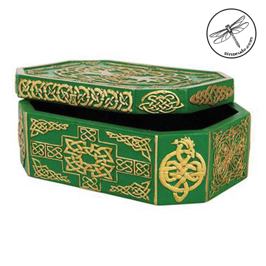 Celtic Tree of Life Green & Gold Box