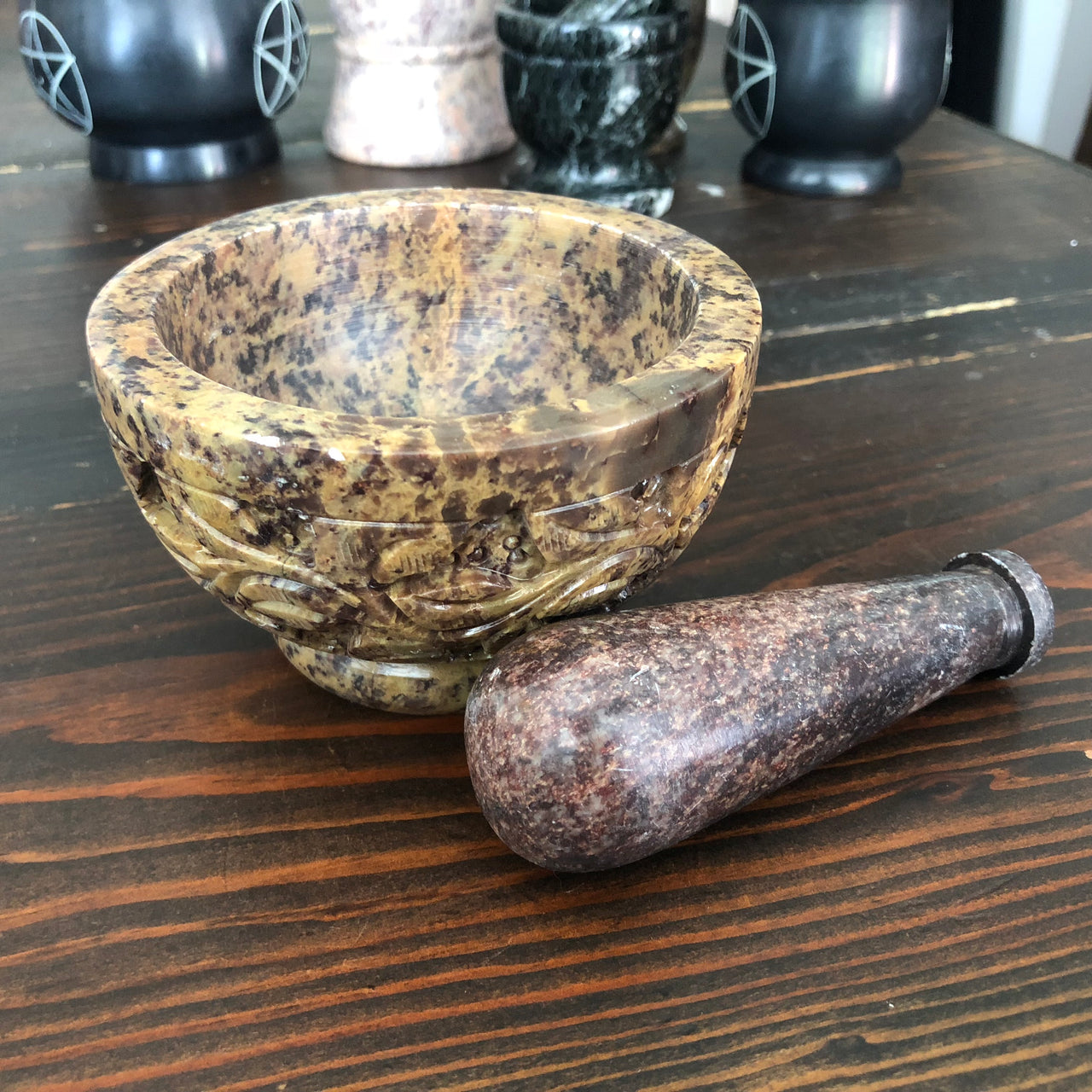 Flower Mortar & Pestle 4""