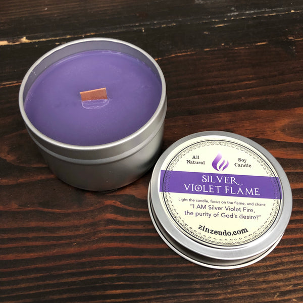 Silver Violet Flame Wooden Wick Soy Candle