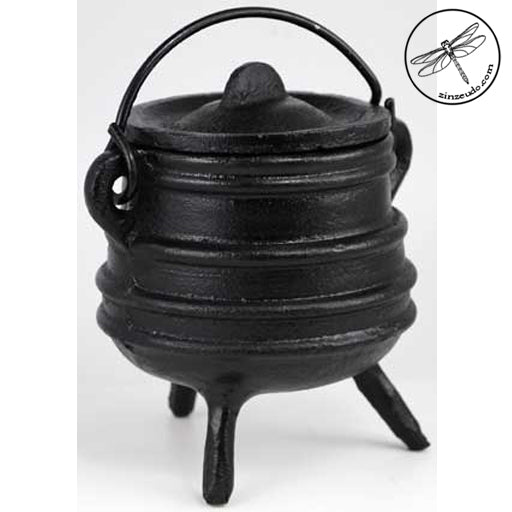 Black Cast Iron Cauldron, Ribbed