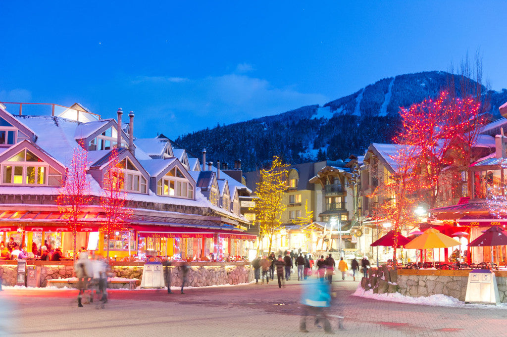 Beuatiful clear night in Whistler Village after fresh snow