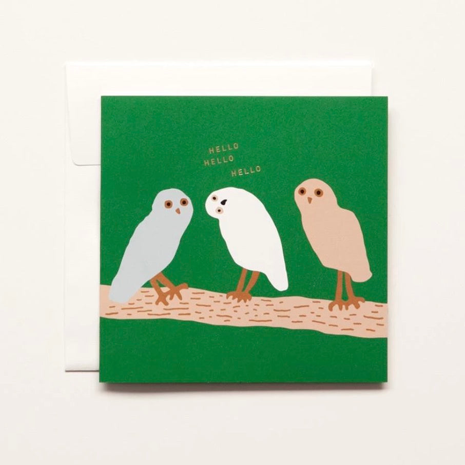 Three Owls Hello Card - shopdaymoments