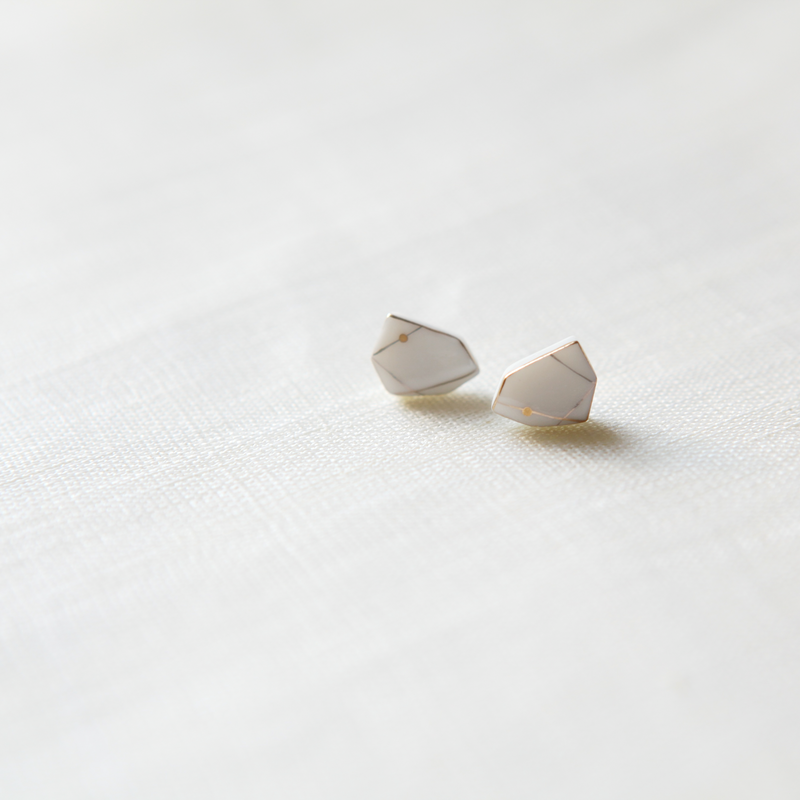 Ceramic Pentagon Earrings White - shopdaymoments