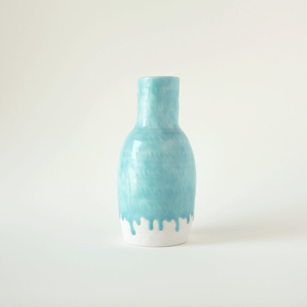 Turquoise and White Ceramic Drip Vase - shopdaymoments