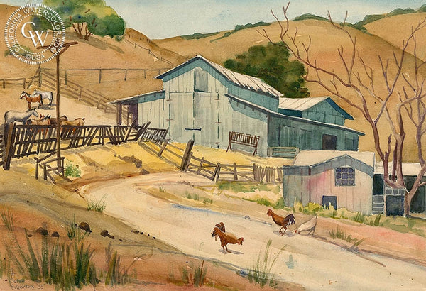 Ranch Above San Luis Obispo, 1935, California art by Adolphine Sutro Fullerton. HD giclee art prints for sale at CaliforniaWatercolor.com - original California paintings, & premium giclee prints for sale