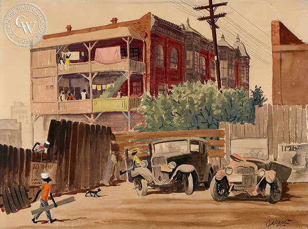 East 5th Street, 1948, California art by Al Kaelin. HD giclee art prints for sale at CaliforniaWatercolor.com - original California paintings, & premium giclee prints for sale