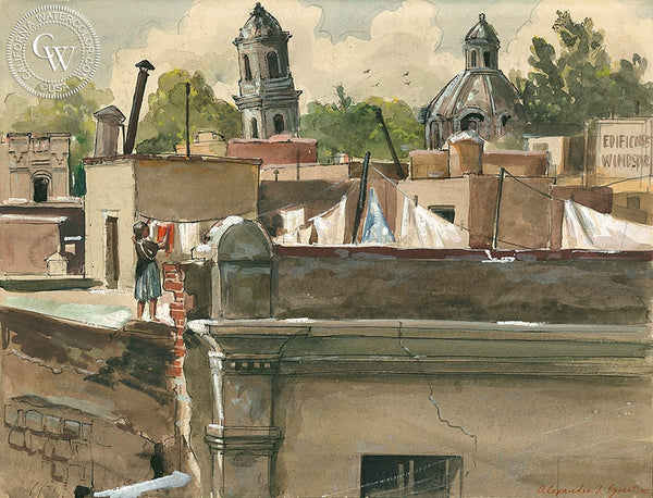 Leaning Cathedral, Mexico City, 1947, California art by Alex Ignatiev. HD giclee art prints for sale at CaliforniaWatercolor.com - original California paintings, & premium giclee prints for sale