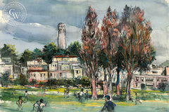 Park in North Beach San Francisco, 1949, California art by Alex Ignatiev. HD giclee art prints for sale at CaliforniaWatercolor.com - original California paintings, & premium giclee prints for sale