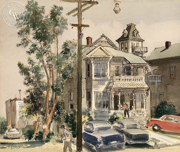 White House, California art by Alex Ignatiev. HD giclee art prints for sale at CaliforniaWatercolor.com - original California paintings, & premium giclee prints for sale