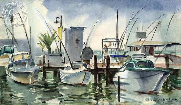 Boats in Harbor, California art by Alexandra Bradshaw. HD giclee art prints for sale at CaliforniaWatercolor.com - original California paintings, & premium giclee prints for sale