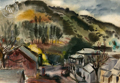 Foothills, 1949, California art by Alexandra Bradshaw. HD giclee art prints for sale at CaliforniaWatercolor.com - original California paintings, & premium giclee prints for sale