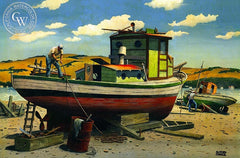Drydock, California art by Alfred Owles. HD giclee art prints for sale at CaliforniaWatercolor.com - original California paintings, & premium giclee prints for sale