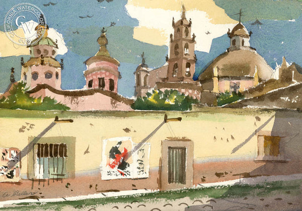 Seminary at San Miguel, c. 1930's, California art by Alvin Beller. HD giclee art prints for sale at CaliforniaWatercolor.com - original California paintings, & premium giclee prints for sale