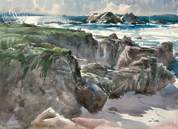 A View from the Bluff, California art by Art Riley. HD giclee art prints for sale at CaliforniaWatercolor.com - original California paintings, & premium giclee prints for sale