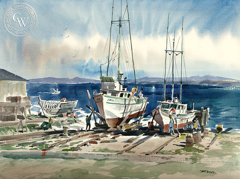 At Work, a watercolor painting by Art Riley. HD giclee art prints for sale at CaliforniaWatercolor.com - original California paintings, & premium giclee prints for sale