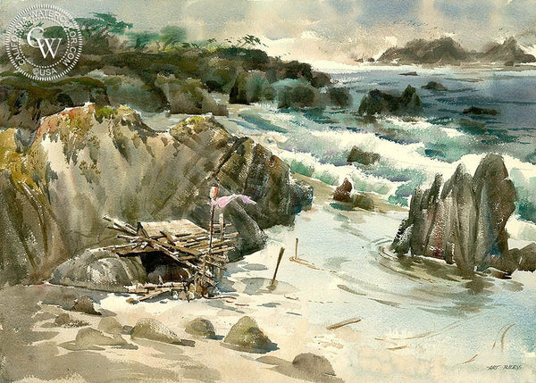 Beach Shack, California art by Art Riley. HD giclee art prints for sale at CaliforniaWatercolor.com - original California paintings, & premium giclee prints for sale