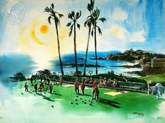 Bowling on the Green, 1950, California art by Art Riley. HD giclee art prints for sale at CaliforniaWatercolor.com - original California paintings, & premium giclee prints for sale