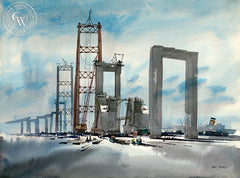 Building the Bridge, 1962, California art by Art Riley. HD giclee art prints for sale at CaliforniaWatercolor.com - original California paintings, & premium giclee prints for sale