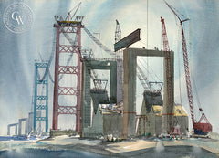 Building the Vincent Thomas, 1962, California art by Art Riley. HD giclee art prints for sale at CaliforniaWatercolor.com - original California paintings, & premium giclee prints for sale
