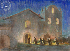 By Candle Light, California art by Art Riley. HD giclee art prints for sale at CaliforniaWatercolor.com - original California paintings, & premium giclee prints for sale