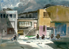 Cycling Nuns at Cannery Row, California art by Art Riley. HD giclee art prints for sale at CaliforniaWatercolor.com - original California paintings, & premium giclee prints for sale