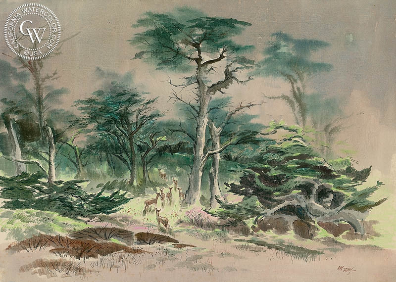 deer in forest carmel ca art by art riley california watercolor deer in forest carmel ca