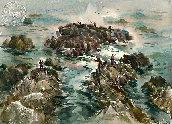 Fishing from the Rocks, California art by Art Riley. HD giclee art prints for sale at CaliforniaWatercolor.com - original California paintings, & premium giclee prints for sale