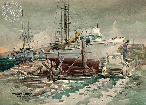 The Flying Cloud, Monterey, 1954, California art by Art Riley. HD giclee art prints for sale at CaliforniaWatercolor.com - original California paintings, & premium giclee prints for sale