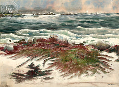 Grassy Rocks, 17 Mile Drive, Carmel, California art by Art Riley. HD giclee art prints for sale at CaliforniaWatercolor.com - original California paintings, & premium giclee prints for sale