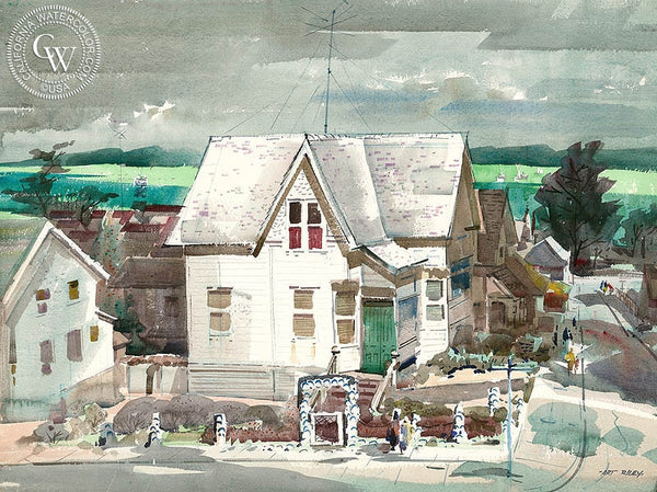 House on Monterey Bay, c. 1950's, California art by Art Riley. HD giclee art prints for sale at CaliforniaWatercolor.com - original California paintings, & premium giclee prints for sale