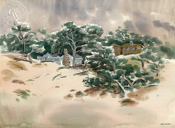 Houses on the 17 Mile Drive, California art by Art Riley. HD giclee art prints for sale at CaliforniaWatercolor.com - original California paintings, & premium giclee prints for sale