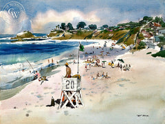 Life Guard Tower 20, Laguna Beach, c. 1960's, California art by Art Riley. HD giclee art prints for sale at CaliforniaWatercolor.com - original California paintings, & premium giclee prints for sale