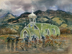 Madonna del Carmine, c. 1940's, California art by Art Riley. HD giclee art prints for sale at CaliforniaWatercolor.com - original California paintings, & premium giclee prints for sale
