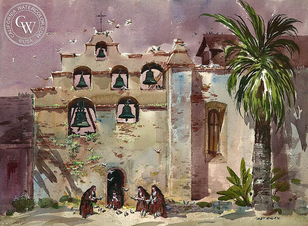 Mission Bells, California art by Art Riley. HD giclee art prints for sale at CaliforniaWatercolor.com - original California paintings, & premium giclee prints for sale