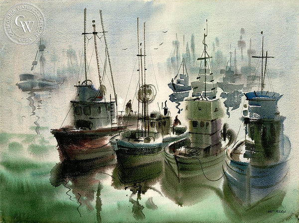 Fishing Fleet (Monterey), California art by Art Riley. HD giclee art prints for sale at CaliforniaWatercolor.com - original California paintings, & premium giclee prints for sale